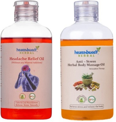 Healthbuddy Herbal - Headache Relief Oil, 200ml & Anti Stress Body Massage Oil, 200ml