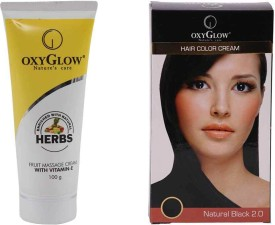 Oxyglow Fruit Massage Cream With Vitamin-E & Hair Colour Cream-Black