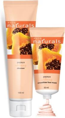Avon Naturals Papaya Whitening Cleanser (100 ml) & Smoothies Face Mask (50 ml)