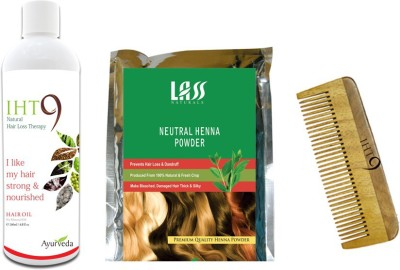 Lass Naturals Iht9 Hair Oil with Herbal Henna Powder+Neem Wood Hair Comb LC-3