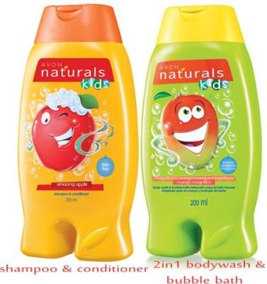 Avon Naturals Kids Shampoo & Conditioner – Amazing Apple (200 ml) + 2-in-1 Body Wash & Bubble Bath – Magnificient Mango (200 ml)