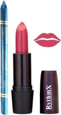 Rythmx Pinkish Purple Mauve Lipstick And Pro Non Transfer Blue Kajal 2884