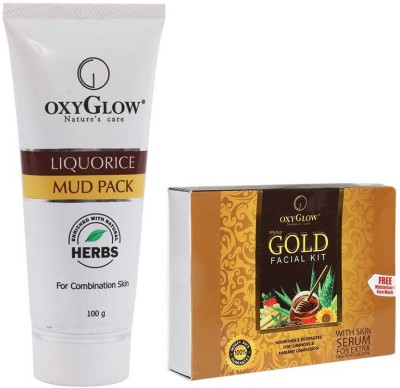 Oxyglow Liquorice Mud Pack & Gold Facial Kit