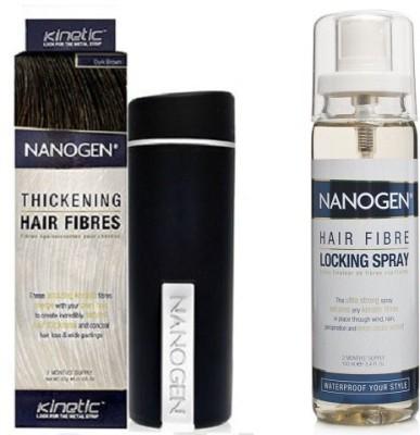 Nanogen Hair Fibres Dark Brown with Locking Spray