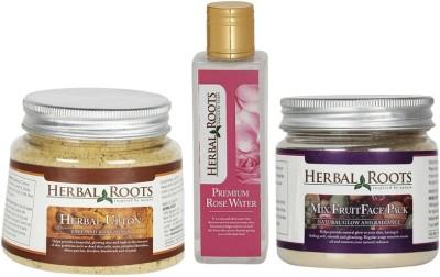 Herbal Roots Anti Tan Facial Kit - Ubtan, Mix Fruit Pack and Rose Water