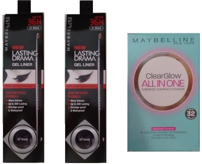Maybelline Lasting Drama Gel Liners and Clearglow Compact (Natural)