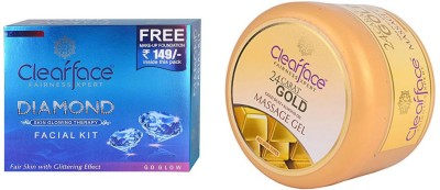 Clear Face Daimond Facial Kit & Gold Dust Almond Oil Massage Gel