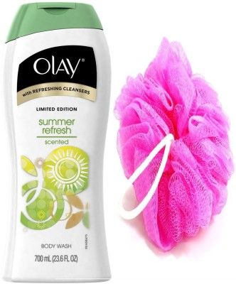 Olay Summer Refresh Scented Body Wash 700 mL With Loofah