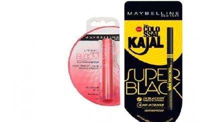 Maybelline New York Colossal Super Black kajal & Bloom Color Changing Lip Balm-Peach Blossom Strawberry