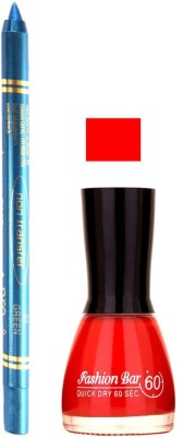 Fashion Bar Glowing Red Nail Polish With Pro Non Transfer Turquoise Blue Kajal 76