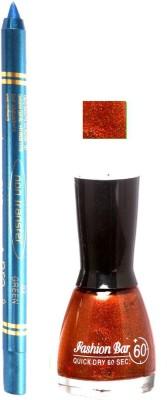 Fashion Bar Glitter Dark Brown Nail Polish With Pro Non Transfer Turquoise Blue Kajal 87
