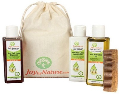 Joybynature 100% Natural Hair Loss Treatment Kit With Neem Wooden Comb