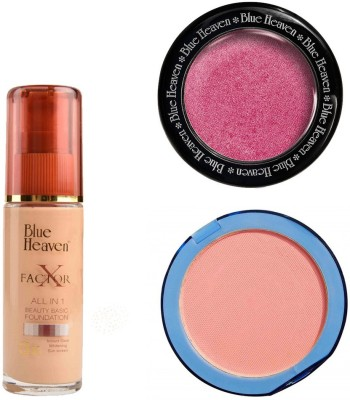 Blue Heaven X Factor Foundation (Blush), Silk On Face Compact (Pink) & Diamond Blush on 506