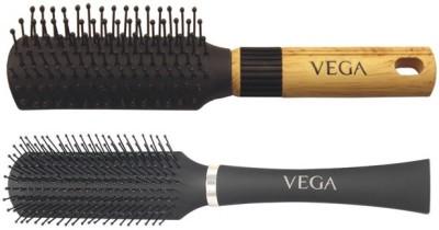Vega Basic Mini - Flat Hair Brush R5-Fb With Premium Collection Flat Brush (Black)