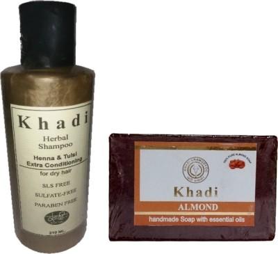 KHADIKHAZANA khadi heena tulsi shampoo & almond soap