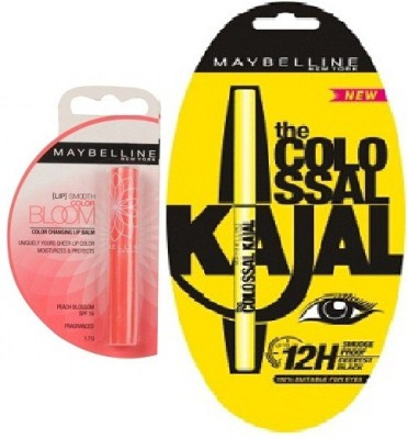 Maybelline Colossal Kajal black 0.35 & Bloom Color Changing Lip Balm-Peach Blossom Strawberry 1.7g