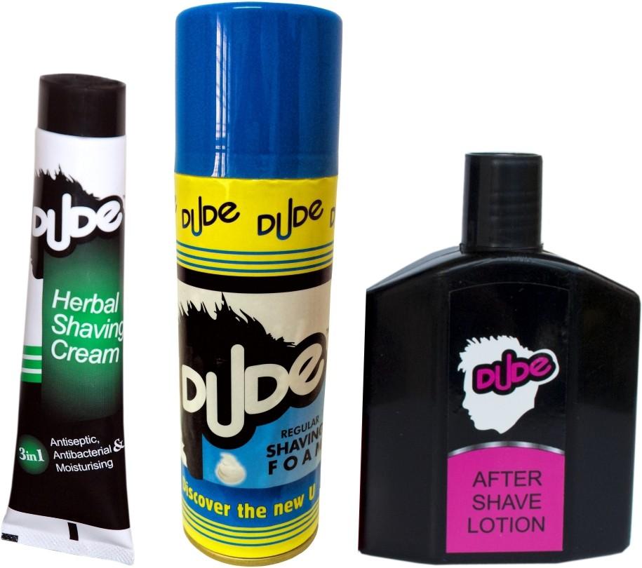 Dude Dube After Shaving Lotion, Shaving Foam & Herbal Shaving Cream(Set of 3)