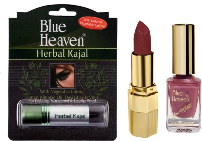 Blue Heaven Xpression Lipstick Mc 132, Xpression Nail Paint 927 & Herbal Kajal Combo.