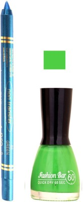 Fashion Bar Parrot Green Nail Polish With Pro Non Transfer Turquoise Blue Kajal 96