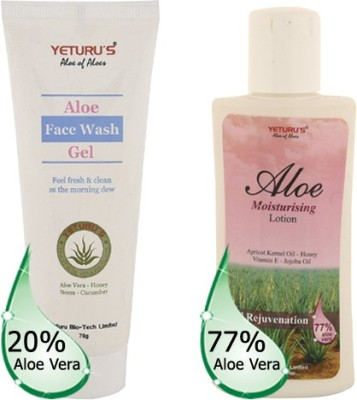 Yeturu's Aloe Face Wash Gel (Aloe Vera 20%) 70gms & Aloe Moisturising Lotion (Aloe Vera 77%) 100ml