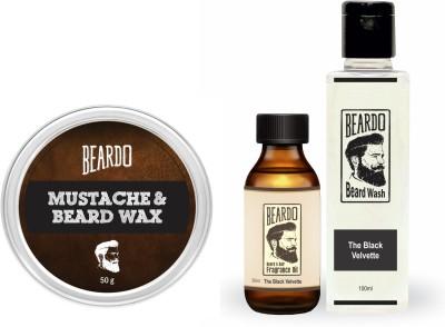 Beardo The Black Velvette Beard Oil (30ml), Wash (100ml) & Wax (50g) Combo
