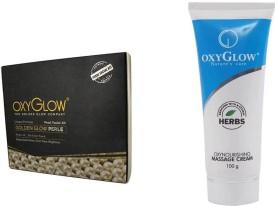 Oxyglow Golden Glow Radiance Pearl Facial Kit & Oxynourshing Massage Cream 100gm
