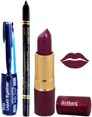 Rythmx Mauve Lipstick Eyeliner Kajal Combo Kit 78089
