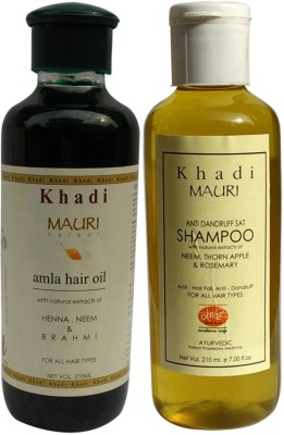 Khadimauri Amla Hair Oil & Anti Dandruff Shampoo Combo Pack of 2 Herbal Ayurvedic Natural 210 ml each
