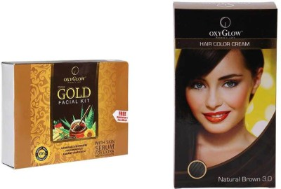 Oxyglow Gold Facial Kit & Hair Colour Cream-Brown