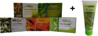 Mxofere Combo Almond Honey Neem Tulsi Jasmine Papaya Aloevera Soap Kit