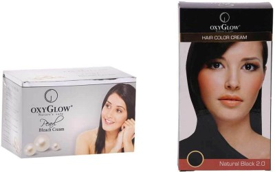 Oxyglow Prarl Bleach Cream & Hair Colour Cream-Black