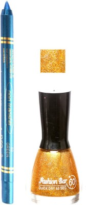 Fashion Bar Glitter Gold Nail Polish With Pro Non Transfer Turquoise Blue Kajal 83