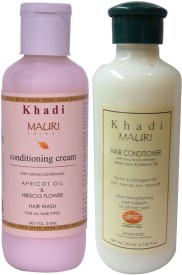 Khadi Mauri Herbal Hair Conditioner & Cream Shampoo Combo Pack of 2 Ayurvedic Natural 210 ml each