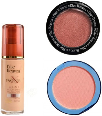 Blue Heaven X Factor Foundation (Blush), Silk On Face Compact (Pink) & Diamond Blush on 502