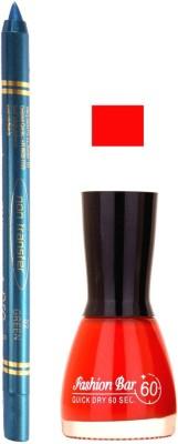 Fashion Bar Red Nail Polish With Pro Non Transfer Turquoise Blue Kajal 61