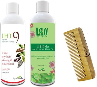 Lass Naturals Iht9 Hair Oil with Henna Hair Oil+Neem Wood Hair Comb LC-3