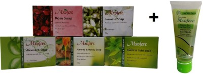 Mxofere Combo Rose Jasmine Aloevera Almond Honey Neem Tulsi Soap Kit