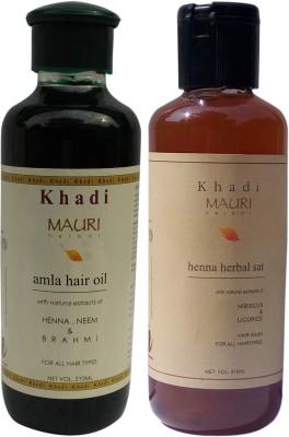 Khadimauri Amla Hair Oil & Henna Herbal Shampoo Combo Pack of 2 Ayurvedic Natural 210 ml each