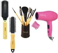 Vega Round Brush-Flat Brush-Vega Make Up Set Of 7 Brush-Vega Hair Dryer(Set of 4)