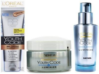 L,Oreal Paris Youth code bb cream 75 ML with luminize Moisturizer 50 mL and Serum 30 mL