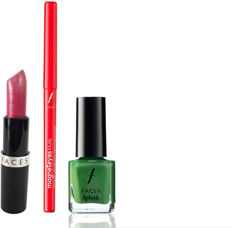 Faces Go Chic Lipstick Coral Pink + Magneteyes Kajal+Splash Nail Enamel Go Green(Set of 3)
