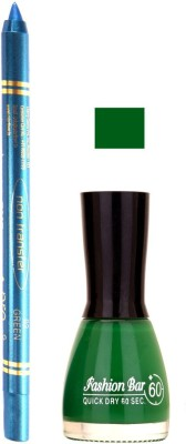 Fashion Bar Dark Green Nail Polish With Pro Non Transfer Turquoise Blue Kajal 91