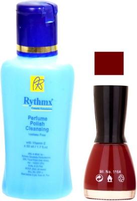 Rythmx Maroon Nail Polish With Extra Strenth Polish Remover 48046
