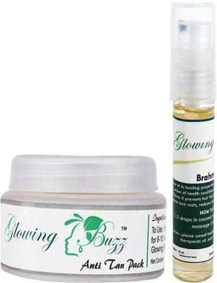Glowing Buzz Combo of Natural Anti Tan Pack for Face, Dark Under Arms and Hands and Brahmi Essential Oil