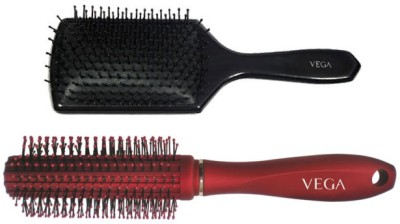Vega Premium Paddle Hair Brush 8586 With Premium Round Hair Brush E11-Rb