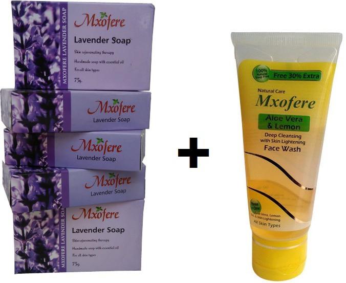 Mxofere Combo Lavender Soap And Aloevera Lemon Facewash Kit(Set of 6)
