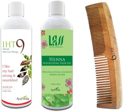 Lass Naturals Iht9 Hair Oil with Henna Hair Oil+Neem Wood Hair Comb LC-2