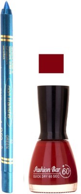 Fashion Bar Dark Redish Mauve Nail Polish With Pro Non Transfer Turquoise Blue Kajal 77