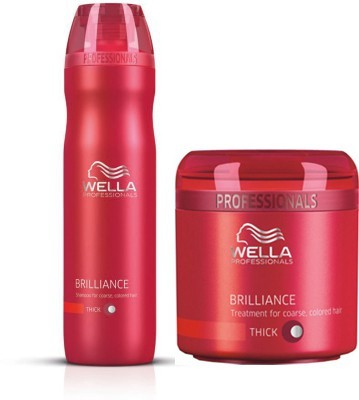 Wella Professionals Combos for Professional Brilliance Shampoo and Treatment Mask For Coloured Hair 250 ml