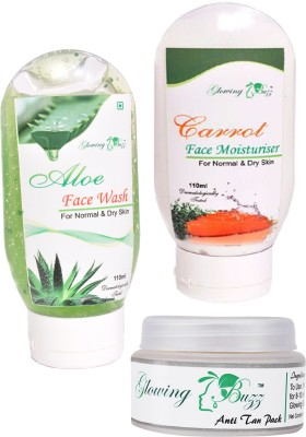 Glowing Buzz Combo of 1 Aloe Face Wash, 1 Carrot Moisturiser and 1 Natural Anti tan Pack for normal to dry skin
